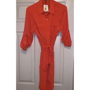 Calvin Klein Tangerine Bottom Down Dress
